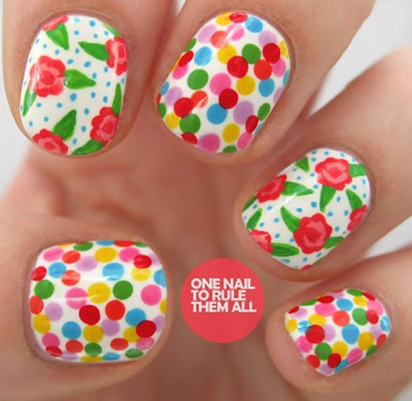colorful dots flowers easter spring nails