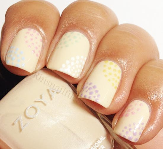 colorful dots on neutral nails