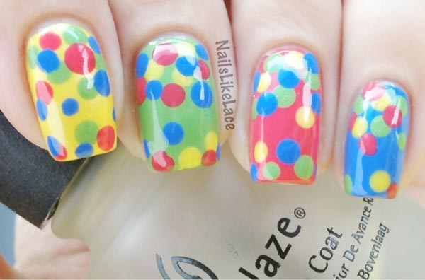 colorful dotted easter spring nails