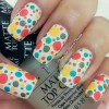 colorful dotted white joyful nails