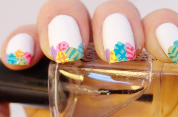 colorful eggs french white easter nails