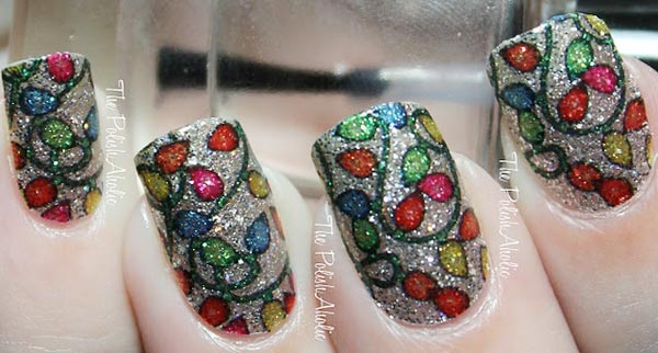 colorful fairy lights silver shimmer nails