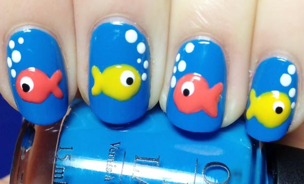 colorful fish blue beach nails