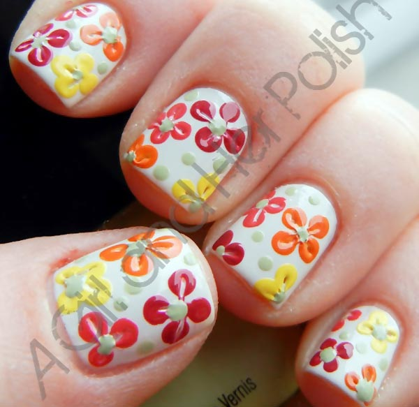 colorful flowers spring short nails