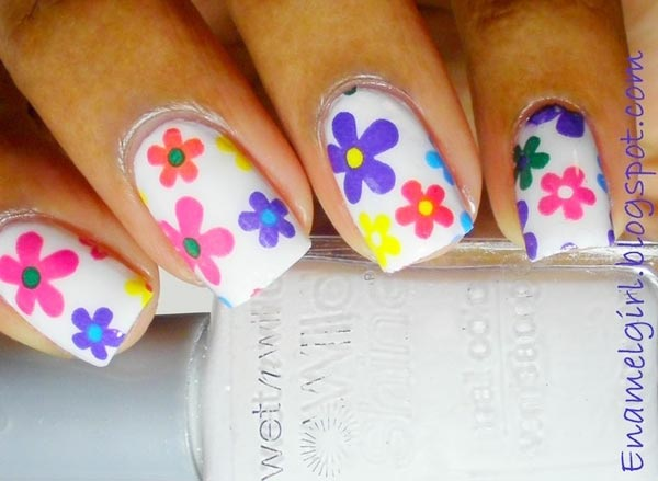 colorful flowers white spring nails