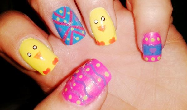 colorful freehand easter nails