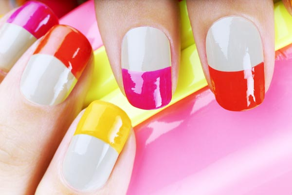 colorful french tips spring easter nails