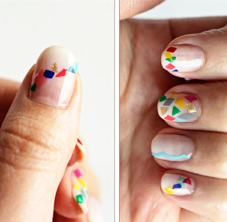 colorful geometry nails