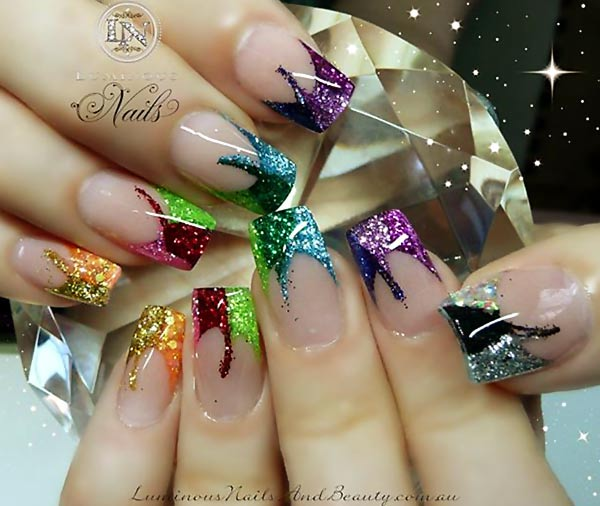 colorful glitter french festive nails