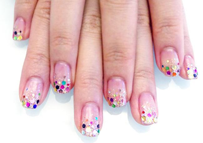 colorful glitter gradient party joyful nails