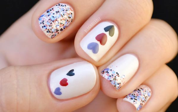 colorful hearts glitter accent delicate nails