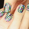 colorful herringbone glitter nails