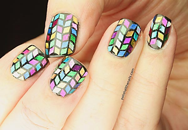 colorful herringbone glitter nails