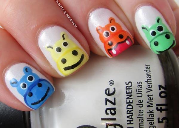 colorful hippos joyful nails