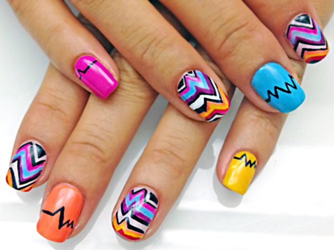 colorful hipster graphic nails