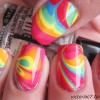 colorful marbled neon summer nails