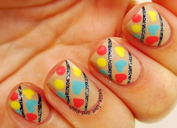 colorful matte hearts striped nails