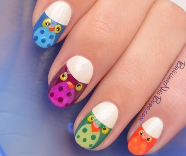 colorful owl halloween french nails