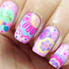 colorful pastels cartoon freehand nails