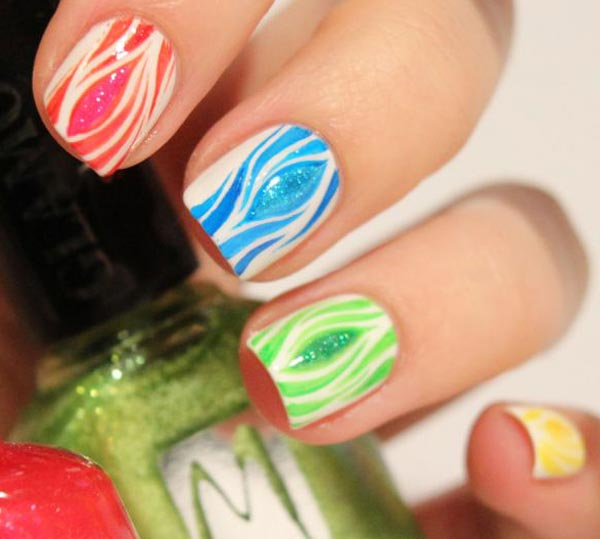 colorful patterns white spring nails