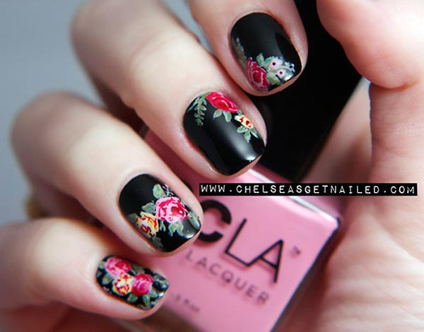 colorful roses on black nails