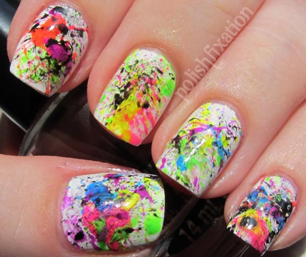 colorful splatter on white summer nails