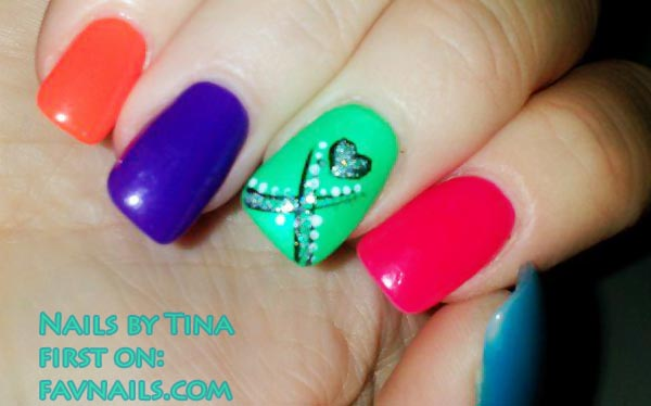 colorful spring summer tattoo nails