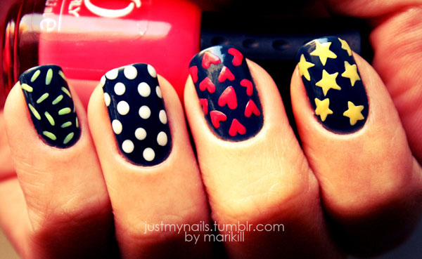 stars hearts dots colorful nails