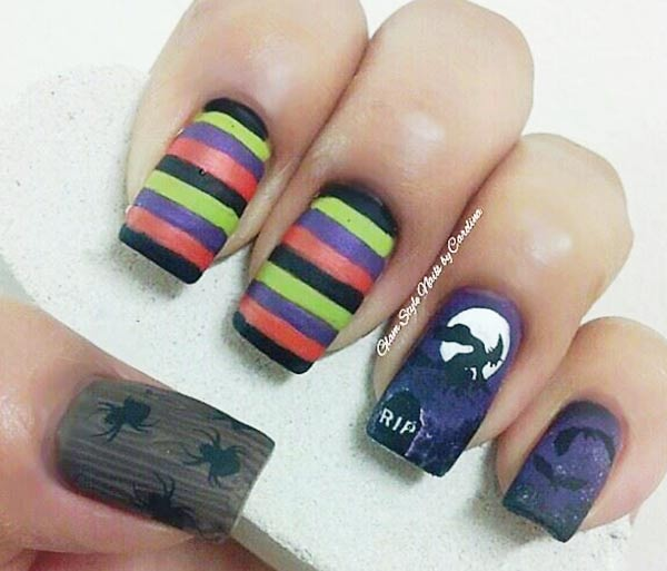 colorful striped witch spiders halloween matte nails
