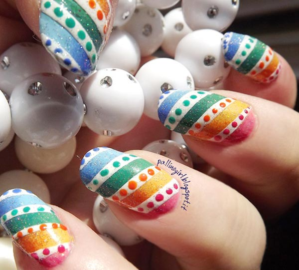 colorful stripes dots easter spring nails