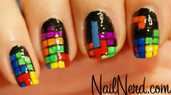 colorful tetris nails