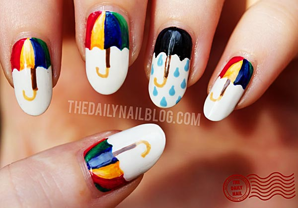 colorful umbrella white nails