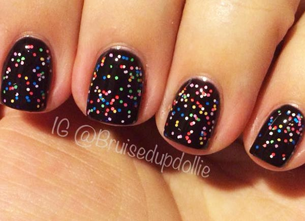 confetti glitter black party nails
