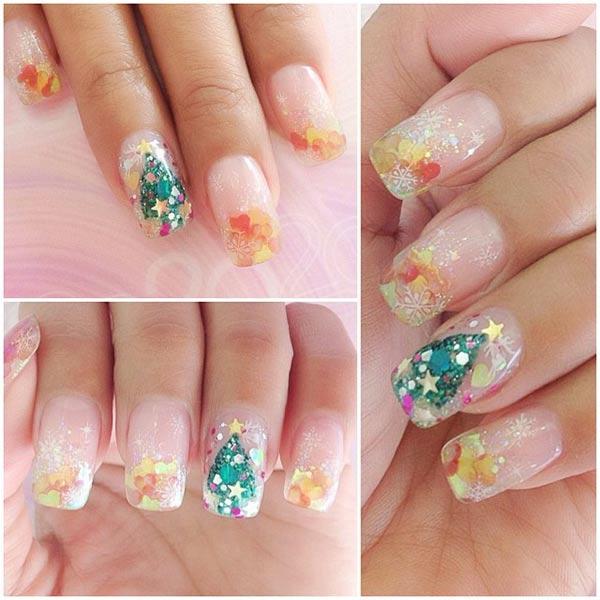 confetti glitter christmas tree nails