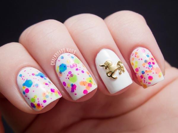confetti unicorn fairy tale white nails