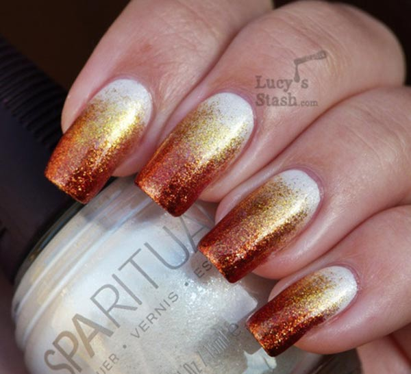 copper gold white gradient nails