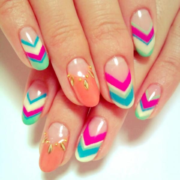 coral accents colorful chevron french nails