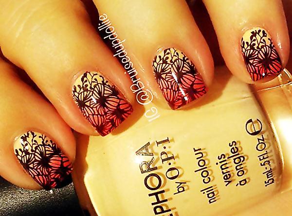 coral beige gradient flowers stamped nails