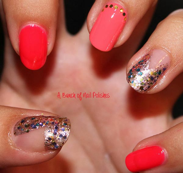 coral gradient silver glitter accent nails