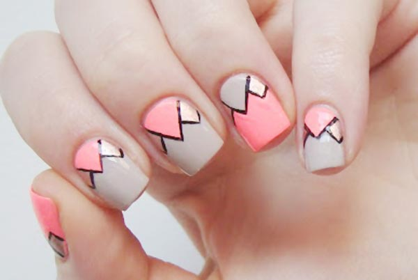 coral gray bronze geometry nails