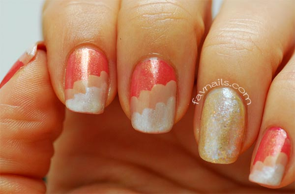 coral beige white glitter gradient wavy nails