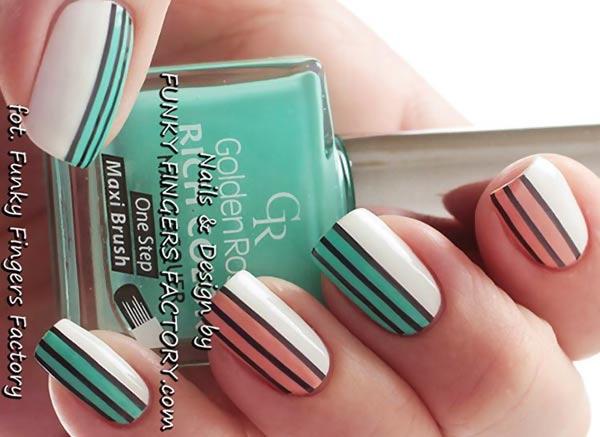 coral teal black matte striped retro nails