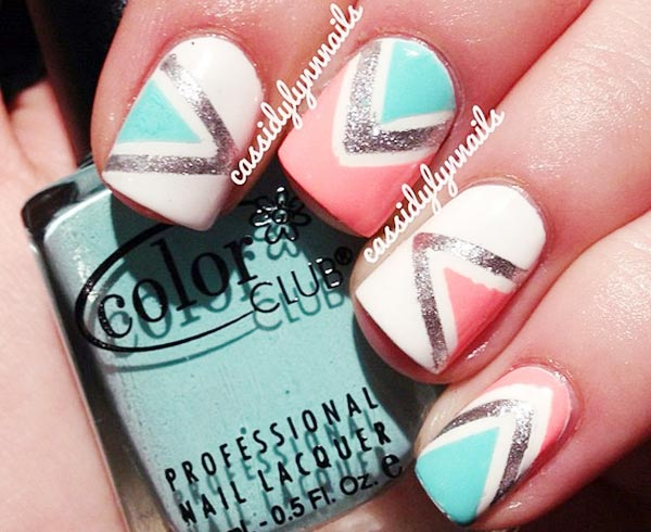 coral teal white silver geometry nails