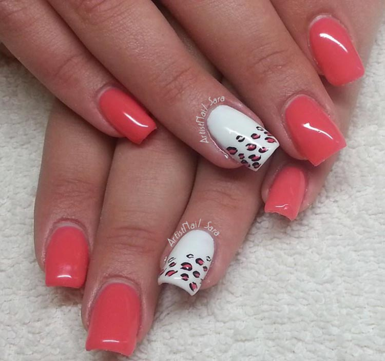 coral white cheetah accent summer nails