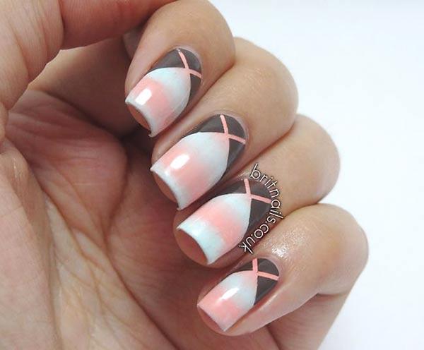 coral white gradient kriss kross stiletto nails