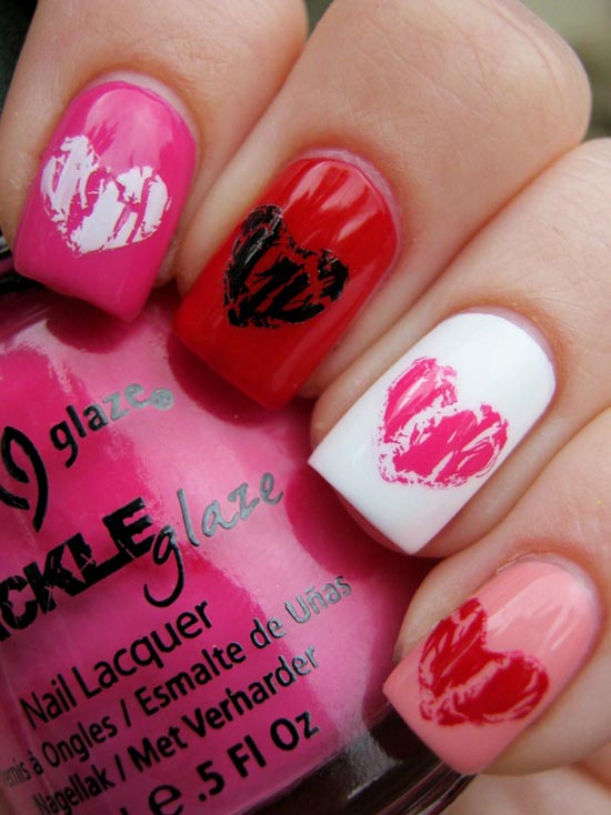 crackled hearts valentines day nails