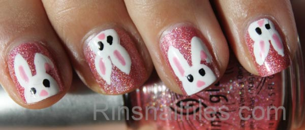 cute bunny pink easter nails