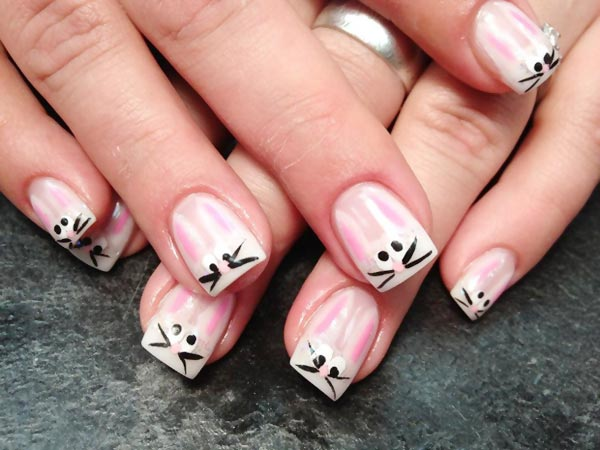 cute french bunny nails