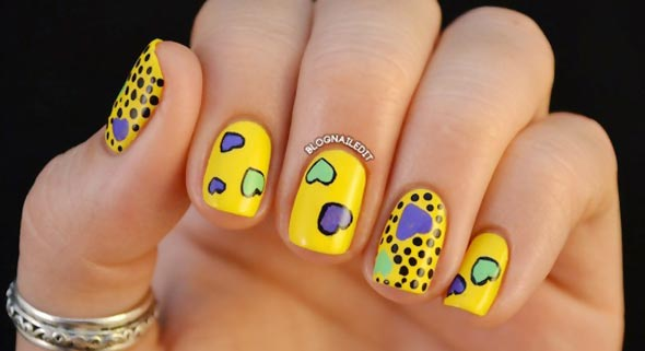 cute hearts dots yellow joyful nails