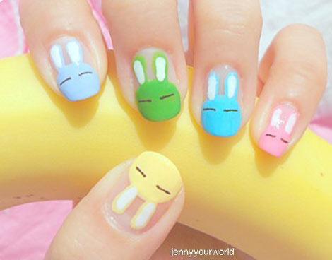 cutest bunny pastel nails